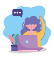 people communication and technology girl with vector image