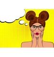 Pop art surprised brunette woman face vector image vector image