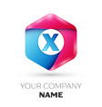 realistic letter x in colorful hexagonal vector image vector image