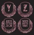 rose gold monograms set in antique style vintage vector image