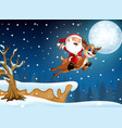 santa claus riding his deer flying over hill vector image vector image