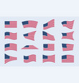 set different american flags in different vector image vector image