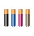 Set of Black Blue Cyan Pink Alkaline AA Batteries vector image vector image