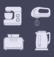 set of icons of household kitchen appliances vector image