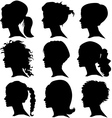 set of woman silhouette with hair styling vector image vector image
