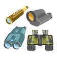 spyglass and binoculars modern vision tools or vector image