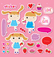 sticker girl cute fruit sweet cartoon vector image vector image