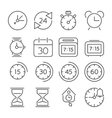 Time and clock icons flat design thin line style vector image vector image