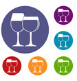 two glasses of wine icons set vector image vector image