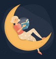 woman reading book at night female character vector image vector image