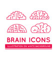 icons of brains in different styles vector image