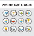 monthly baby stickers for little boys month by vector image