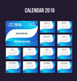 2019 modern calendar background collection vector image vector image