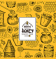 background with sketched contoured honey vector image vector image