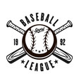 baseball emblem with ball two crossed bats vector image vector image