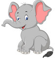 cartoon cute baby elephant sitting vector image vector image