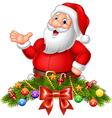 Cartoon funny santa claus waving hand vector image vector image