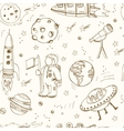cartoon hand drawn doodles on subject space vector image