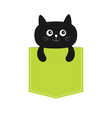 Cat in the pocket Cute cartoon character Black vector image