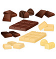 chocolate pieces isolated on white vector image