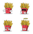 collection of french fries cartoon character set vector image vector image