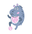 cute cartoon hippo character playing with a ball vector image vector image