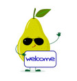 cute pear green character in sunglasses keeps the vector image