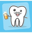 Drunk wisdom tooth with beer vector image vector image