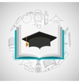 eduation online concept book and graduation cap vector image vector image