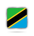 flag of tanzania shiny metallic square button vector image