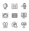 Flat black line basketball icons