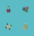 flat icons support businessman income and other vector image vector image