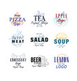 food logo design set pizza tea apple meat vector image vector image