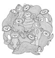 funny sloths circle shape pattern for coloring vector image vector image
