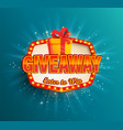 giveaway banner win poster in retro light frame vector image vector image