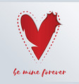 greeting card with a red heart cut out in paper vector image