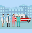 group doctors and nurses with masks standing vector image vector image