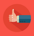 hand with thumbs up and long shadow icon vector image