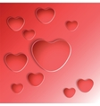 Heart shapes on red background vector image vector image