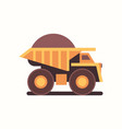 heavy yellow dumper truck with coal industrial vector image