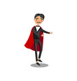 male magician character in black suit and red cape vector image