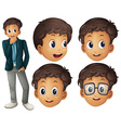 Man in suit with different facial expressions vector image vector image