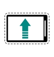 mobile phone upload arrow gadget cut line vector image vector image