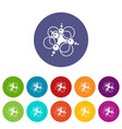 molecule connection icons set color vector image vector image