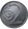 money two czech crones coin reverse vector image vector image