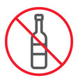 no alcohol line icon prohibition and forbidden vector image vector image