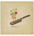 pan with food on old background vector image vector image