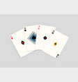 realistic four ace playing card isolated on white vector image vector image