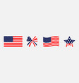 ribbon bow star shape american flag wave icon set vector image