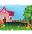 Rural house in the meadow vector image vector image